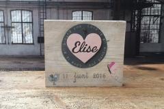Geboortetegel hout steigerhout Elise